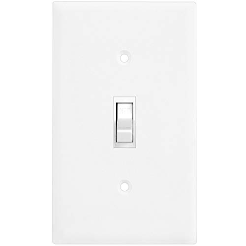 Enerlites 8811-W-10PCS Toggle Wall Plate, Standard Size 1-Gang, Unbreakable Polycarbonate, White (10 Pack) by ENERLITES (Image #3)