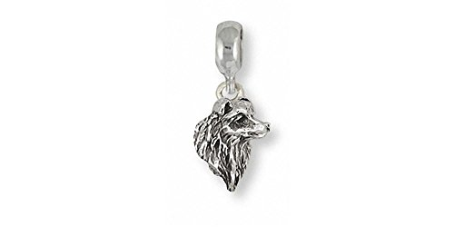 Border Collie Jewelry Sterling Silver Border Collie Charm Slide Handmade Dog Jewelry BE3-PNS