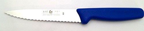 Icel Cutlery 5 1/2-inch Stiff Boning Knife, Extra Wide Serrated Blade, Blue Handle.