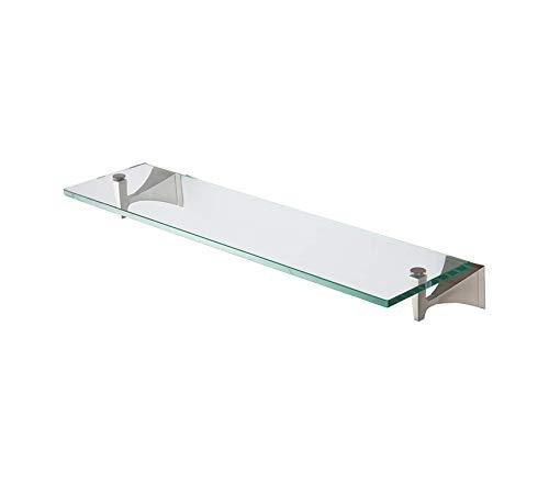 "Home Décor Premium 24"" Tempered Glass Bathroom Shelf -Satin Nickel Storage Durable Strong Decorative"