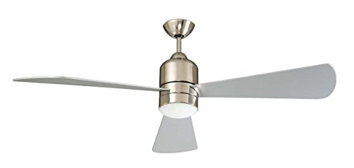 Concord Fans 60DEC3EST Decca - 60 Inch DC Motor Fan W/ Halogen Light Kit, Atainless Steel Finish with Chrome/Rosewood Blades
