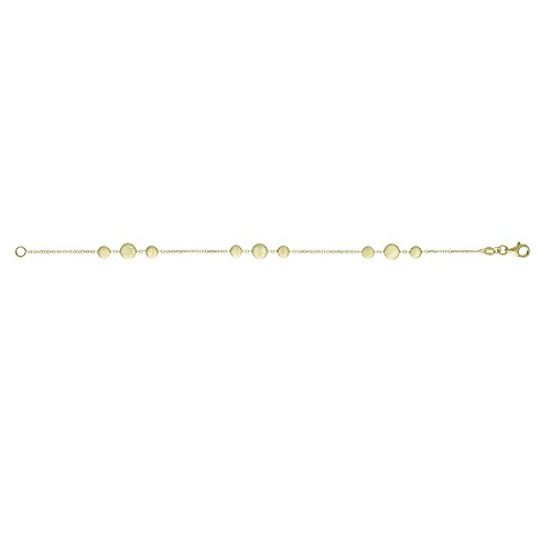 (14k Yellow Gold 3-cluster Station Satin Flat Pebble 1.15mm Cable Chain Bracelet Pear Clasp 7.25 In)