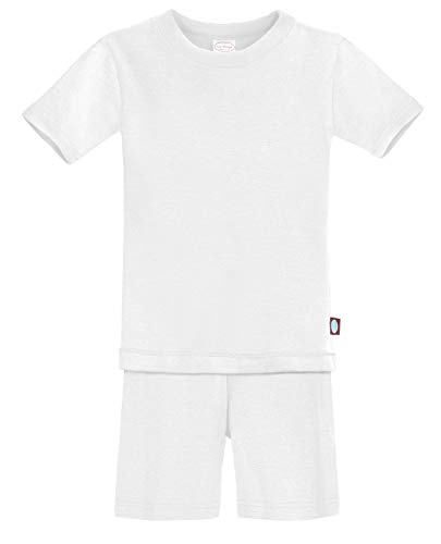 City Threads Certified Organic Thermal Short Sleeve and Short Snug Pajama Set, Baby Boys and Girls for Sensitive Skin, White, 4T