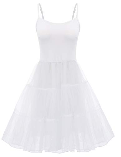 Women's Vintage Rockabilly Petticoat Skirt Tutu Full Slip (M,White)