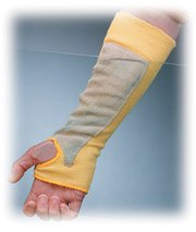 Kut-Gard 10-KS14TOLP 14-Inch Kevlar Cut Resistant Sleeve with Thumb Hole and Leather Protective Patch, Yellow,  144-Piece