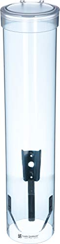 Dispenser Wall Canister Mounted - San Jamar C3165TBL C3165FBL Medium Pull Type Water Cup Dispenser, Fits 4 to 10 oz Cone and Flat Bottom Cups, 16