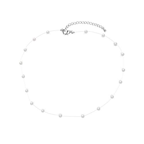 (Dana Carrie Women jewelry Fish line invisible transparent pearl necklace clavicle)