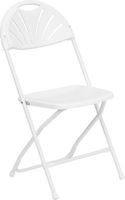 (10 PACK) 800 Lbs Capacity Commercial Grade Fan Back White Plastic Folding Chair by Generic