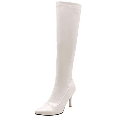 soirée talon Aiguille Genou ModePointu Femmes Bottes Blanc Coolcept qMVzpSU