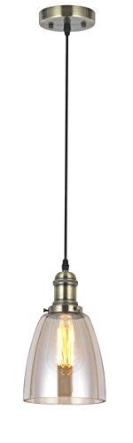 Amber Glass Pendant - VINLUZ Industrial Pendant Lighting 1-Light Amber Glass Shade Modern Ceiling Lights Fixture for Dining Room