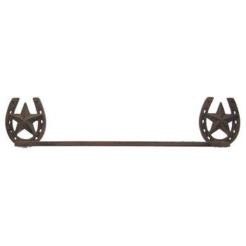 Horse Head Towel Ring (Aunt Chris' Products - Cast Iron Towel Rack - Elegant Touch With A Horseshoe Shape On Each End - Country Western Style Wall Hung - Primitive Design)