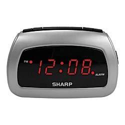 Sharp Battery Backup Electric-Powered Digital Alarm Clock, 2 3/4 x 4 1/4 x 2, Black/Silver