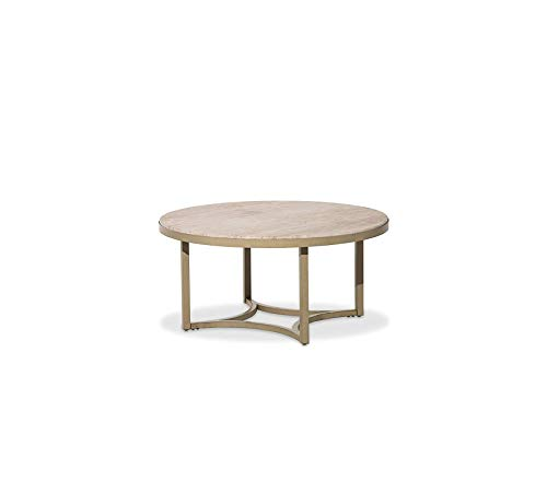 - Wood & Style Furniture Alta Round Cocktail Table with Travertine Marble Top Premium Office Home Durable Strong