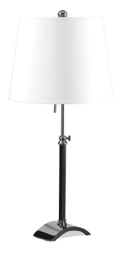 Lighting Enterprises Leather-Accented Table Lamp, Polished Nickel - Enterprises Polished Nickel Floor Lamp