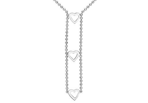 Or blanc 9ct Triple cœur et boule Chaîne Collier 43cm/17'