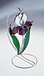 Purple Iris Stained Glass Suncatcher (Stand sold separately)