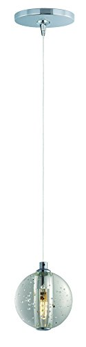 ET2 E24501-91PC Harmony 1-Light RapidJack Pendant and Canopy Mini Pendant, Polished Chrome Finish, Bubble Glass, G4 LED Bulb, 4W Max., Dry Safety Rated, 3000K Color Temp., Low-Voltage Electronic Dimmer, Shade Material, 1575 Rated Lumens ()