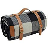 (PortableAnd Extra Large Picnic & Outdoor Blanket for Water-Resistant Handy Mat Tote Spring Summer Great for the Beach,Camping on Grass Waterproof Sandproof, Black and White)