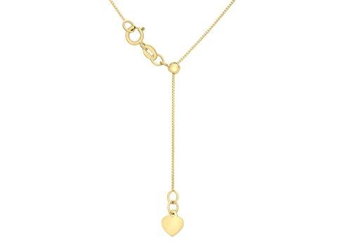 """Jewellery World Bague en or jaune 9carats Cœur 40réglable coulissant pour boîte chaîne 56cm/22"""""""