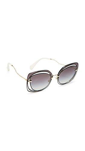Miu Miu Women's Cutout Square Sunglasses, Blue/Grey, One Size (Sunglasses Miu Miu)