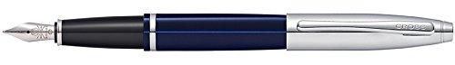 Cross Calais Chrome/Blue Lacquer Fountain Pen with Stainless Steel Medium Nib