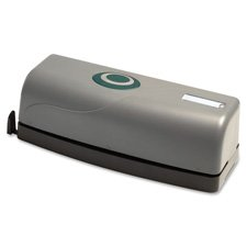 Business Source 00630 3-Hole Punch Battery/Elec Antimicrobial 15 Sht Cap BK/GY
