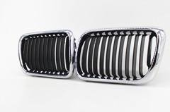 Top 2 PCS Half Chrome Front Hood Kidney Grille Grill For BMW E36 1997-1999 for cheap