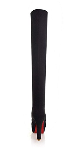 Stivale High Tacco sopra YE The Knee Ginocchio Boots Heels Slip On Over Scarpe con Alto Moda Camoscio Plateau Nero Spillo a Donna e wARRt5