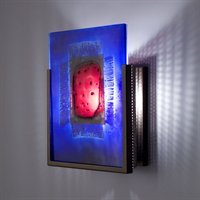 WPT Design FN1-SS-RWB F/N 1 Wall Sconce with Incandescent Lamp in Stainless Steel Finish, Red Window Blue from WPT Design