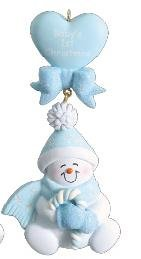 baby boy first christmas snowman personalized christmas ornament - Baby Boy First Christmas Ornament
