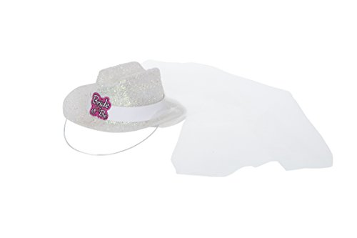 Mini Bride To Be Cowboy Hat with Veil (Mini Hat With Veil)