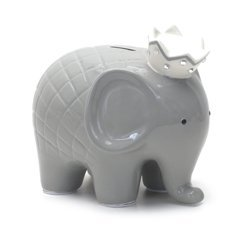 Child to Cherish Ceramic Coco Elephant Piggy Bank, Grey ()