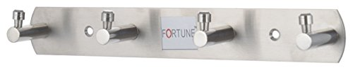 Fortune Stainless Steel Bath Towel Hook Hanger Rail Bar with 4 Hooks