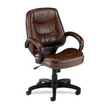 Lorell Mid-Back Managerial Chair, 26-1/2 by 28-1/2 by 43-Inch, Black Leather Finish ()