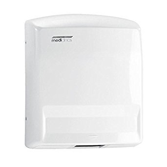 Saniflow M88APLUS Plus Automatic Sensor Operated Warm Air Hand Dryer, White ABS Thermoplastic One-piece Cover, 1/8'' (3mm) Thick, Suitable for Medium and High Traffic Facilities