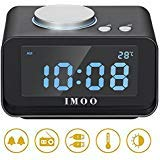 IMOO All-in-one Electronic Alarm Clock with 4 Dimmer, Dual USB Charing, FM Radio,Indoor Thermometer Fuction, Battery Backup,Large LCD Display