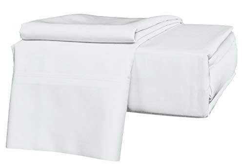 Precious Star Linen Luxury Hotel-Bedding 100% Egyptian Cotton - Genuine 1000 Thread Count Hypoallergenic 4 Piece Sheet Set Fits Mattress Up 16'' to 18'' Deep Pocket (Twin XL 39 ''x 80'', White Solid)