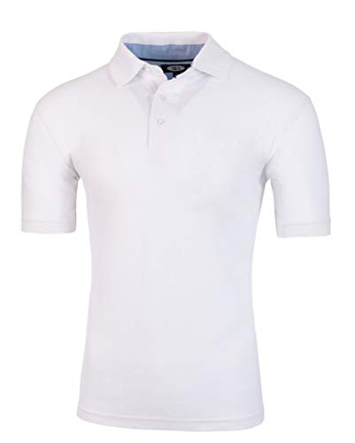 AKA Men's Solid Polo Shirt Classic Fit - Pique Chambray Collar Comfortable Quality White Medium (Collar Knit Top Men)