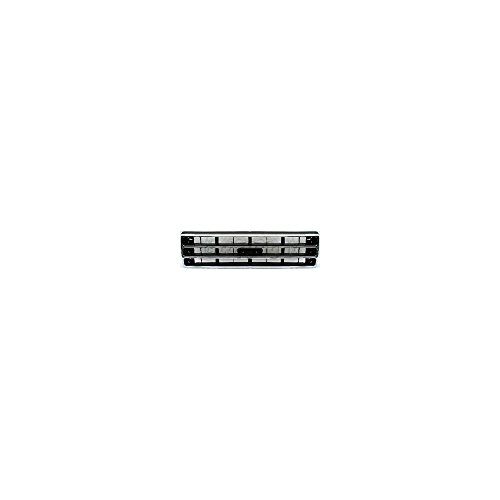 Grille compatible with Ford F-Series 89-91 Chrome Shell/Painted-Dark Argent Insert - Ford Bronco Grille Replacement