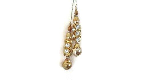 Borlas Latkans Golden Rhinestone Saree Latkans Indian Latkans Big Latkans Designer Tassel Blouse Latkan-Price for a Pair-IDLA11