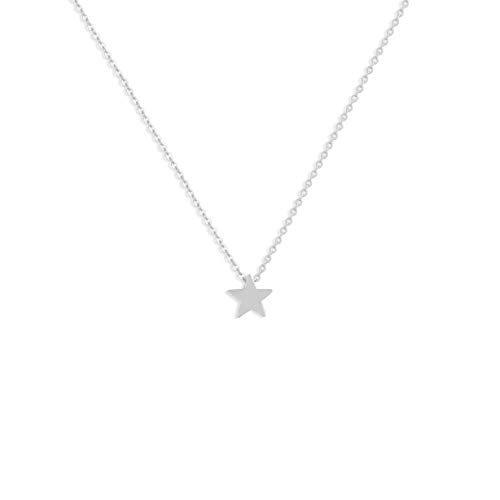 Fettero Silver Tiny Lucky Star Choker Necklace-Dainty Sterling Silver Plated Minimalism Style Personalized Delicate Pendant Friendship Necklace Jewelry ()