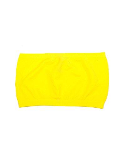 Seamless Bandeau Strapless Tube Top Bra Yellow ()