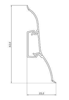 16 Meter Sockelleisten 62mm PVC Eiche alt Laminatleisten Fussleisten aus Kunststoff PVC Laminat Dekore Fu/ßleisten DQ-PP