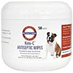 Stratford Pharmaceuticals KETO-C (Ketoconazole Chlorhexidine) Antiseptic Wipes for Dogs, Cats, and Horses Cucumber Melon 50 Wipes