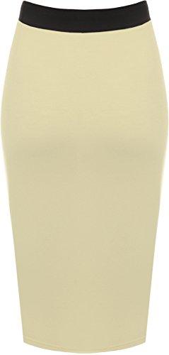 taille Jupes Grande WearAll Femmes Crme 54 44 lastiqu jupe genou longueur Tailles 5Y4FYnU