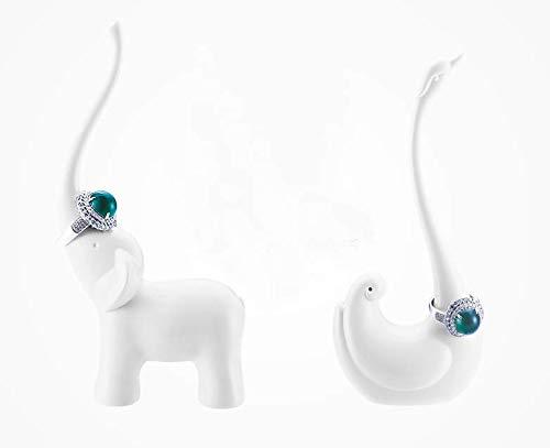 2PC Selling Wonderful (Elephant+Swan) Jewelry Ring Holder - Engagement Wedding Ring Display Holder Stand (Swan Ring Holder)