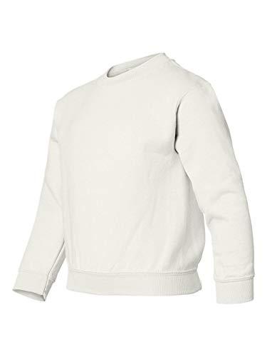 Gildan Heavy Blend Youth 8 oz, 50/50 Fleece Crew Sweatshirt (White) (Large)