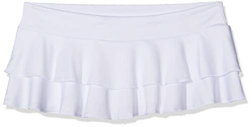 Mapalé by Espiral Women's Flirty Double Layered Ruffle Mini Skirt, White, Medium/Large
