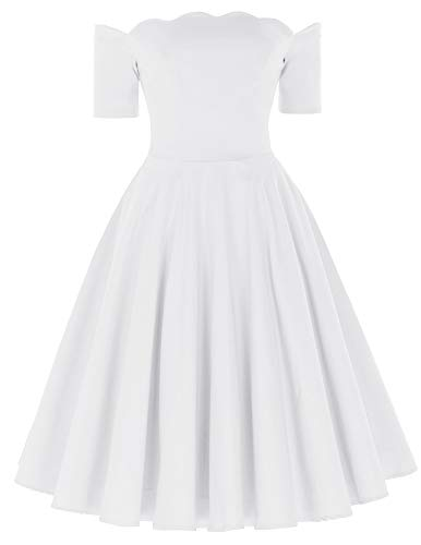 (PAUL JONES Women's Retro Off Shoulder Dress Knee-Length Dress for Party S White)
