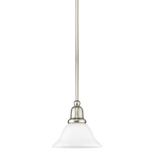 Sea Gull Lighting 61060-962 Sussex One-Light Mini-Pendant with Satin White Glass Shade, Brushed Nickel Finish